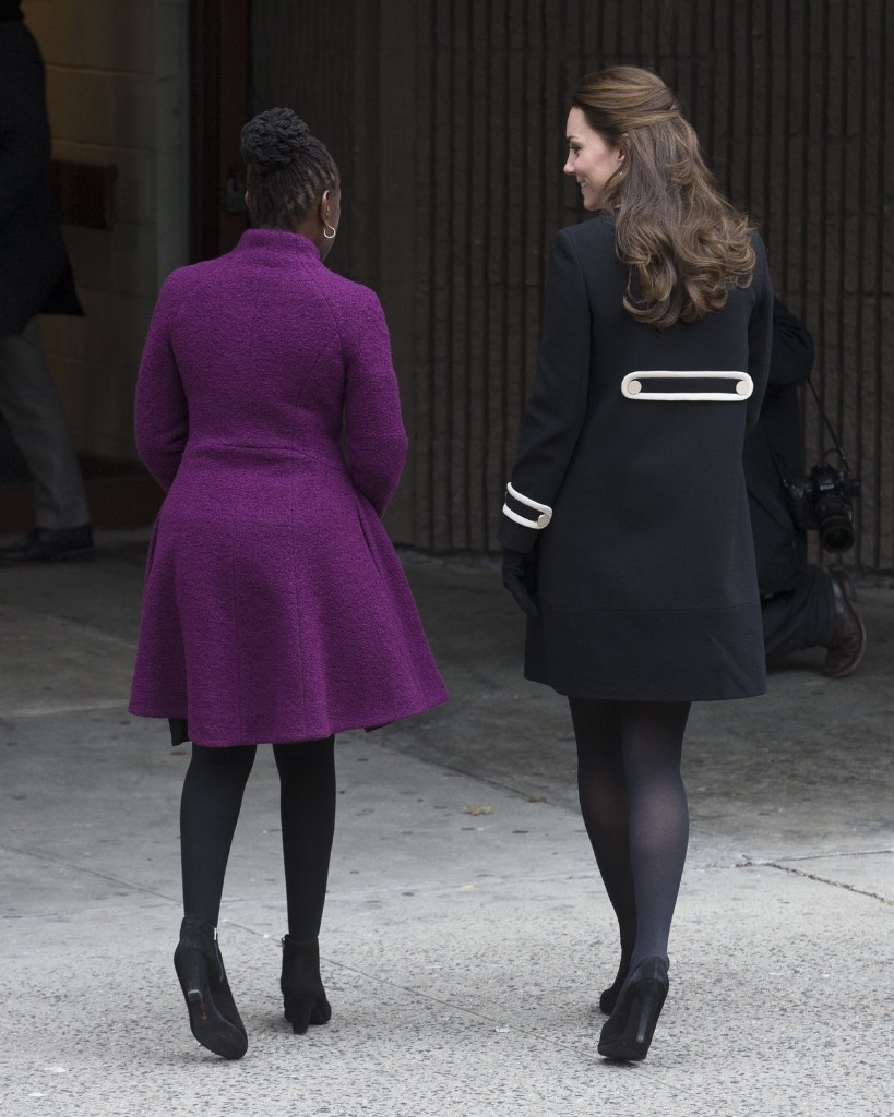 Chirlane McCray, first lady of New York City and Kate, Duchess of Cambridge walk to the Northside Center for Child Development Monday in New York. AP Photo/John Minchillo