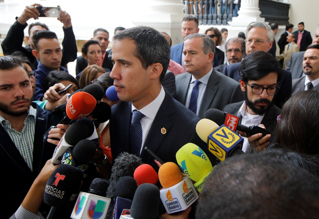 Venezuelan opposition leader Juan Guaido, who many nations have recognized as the country's rightful interim ruler, attends a news conference with accredited diplomatic representatives of the European Union in Caracas, Venezuela February 19, 2019. REUTERS/Marco Bello