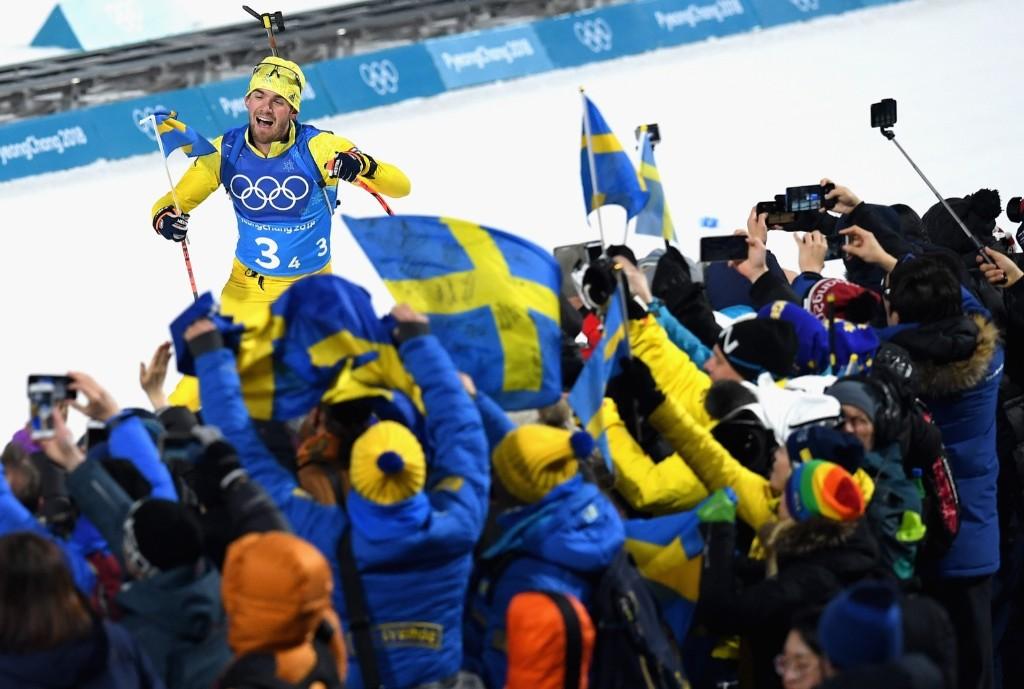 Fredrik Lindstroem of Sweden on the way to winning the gold medal in the men's 4x7.5km biathlon relay. Matthias Hangst/Getty Images