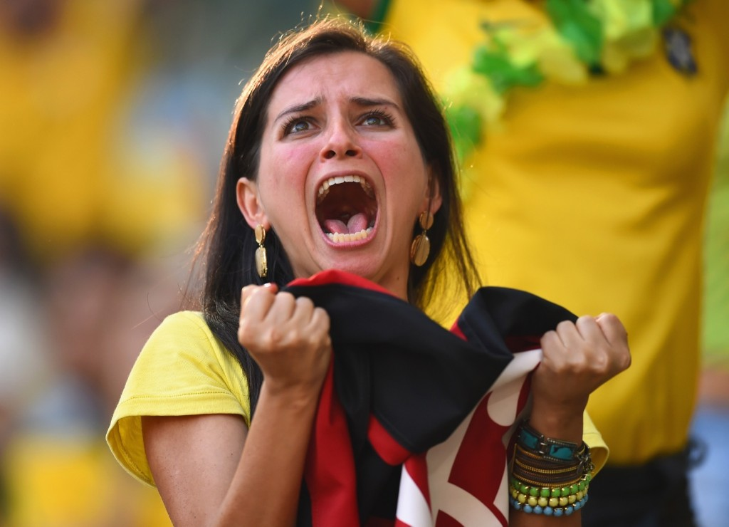 Watching the Brazil/Chile shoot out on the big screen in Rio. Matthias Hangst/Getty Images