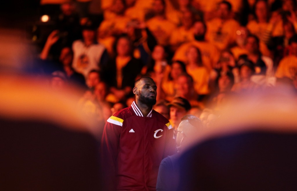 LeBron James prepares for Game Five of the 2015 NBA Finals. Ezra Shaw/Getty Images