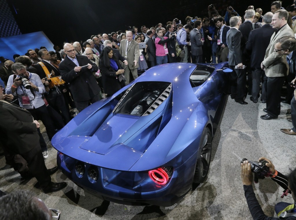 The Ford GT after it was unveiled at the North American International Auto Show, in Detroit, Monday. AP Photo/Carlos Osorio