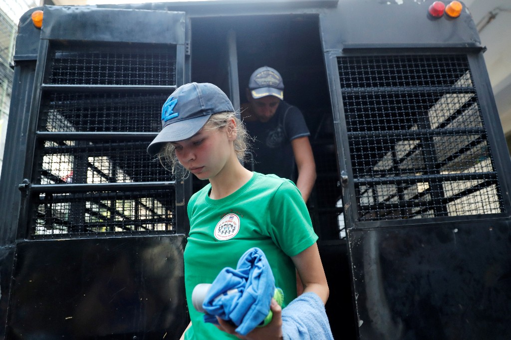 Anastasia Vashukevich, a Belarusian model and escort who caused a stir last year after she was arrested in Thailand and said she had evidence of Russian interference in the 2016 U.S. presidential election, is pictured at the immigration detention center before being deported in Bangkok, Thailand, January 17, 2019. REUTERS/Jorge Silva