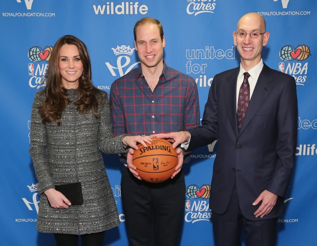 Prince William, Duke of Cambridge and Kate, Duchess of Cambridge with NBA Commissioner Adam Silver before the Cleveland Cavaliers vs. Brooklyn Nets NBA game in New York, Monday. Neilson Barnard/Getty Images