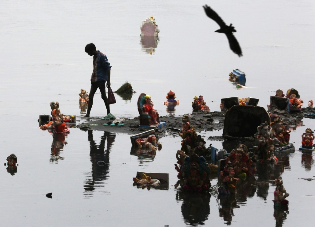 A boy collects religious offerings next to idols of the Hindu elephant god Ganesh in Ahmedabad. REUTERS/Amit Dave