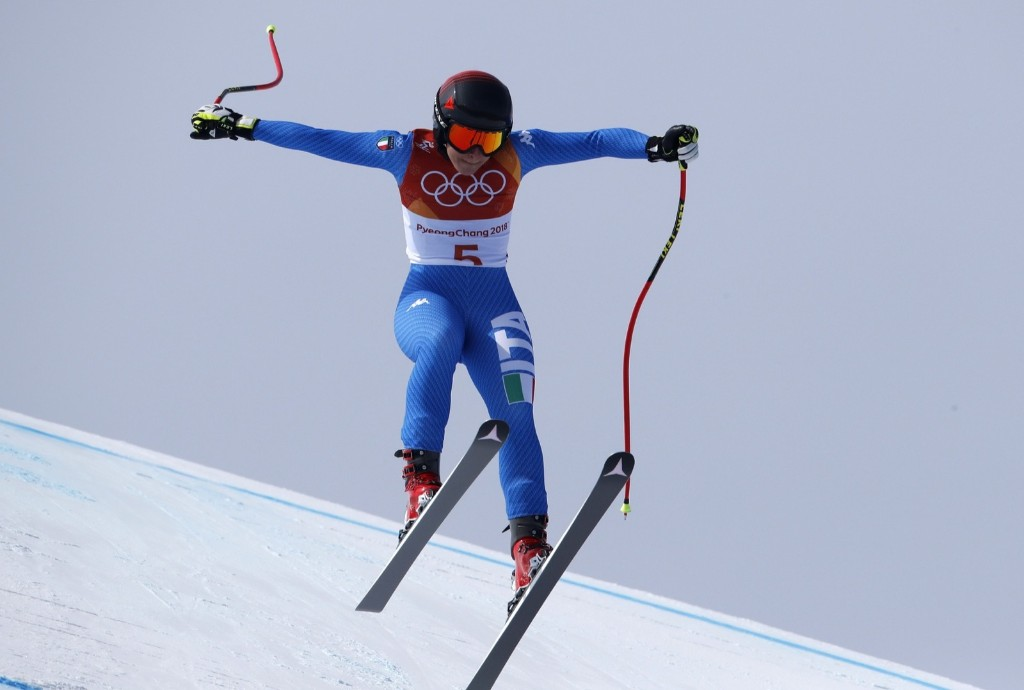 Sofia Goggia of Italy winning the gold medal in the women's downhill at the Jeongseon Alpine Centre. REUTERS/Stefano Rellandini