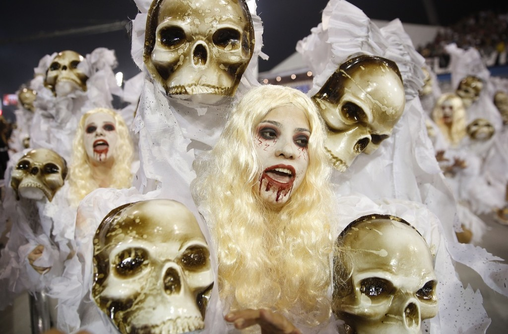 Dancers from the Gavioes da Fiel samba school during a carnival parade in Sao Paulo. AP Photo/Andre Penner
