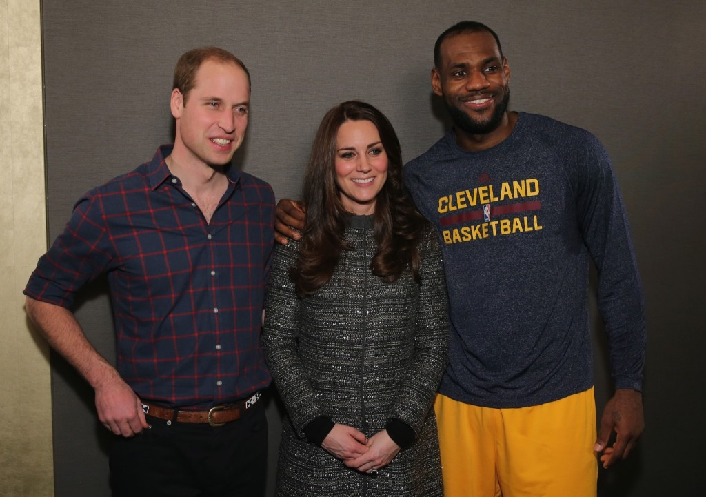 Prince William, Duke of Cambridge and Catherine, Duchess of Cambridge with basketball player LeBron James after the Cleveland Cavaliers vs. Brooklyn Nets game in New York, Monday. Neilson Barnard/Getty Images