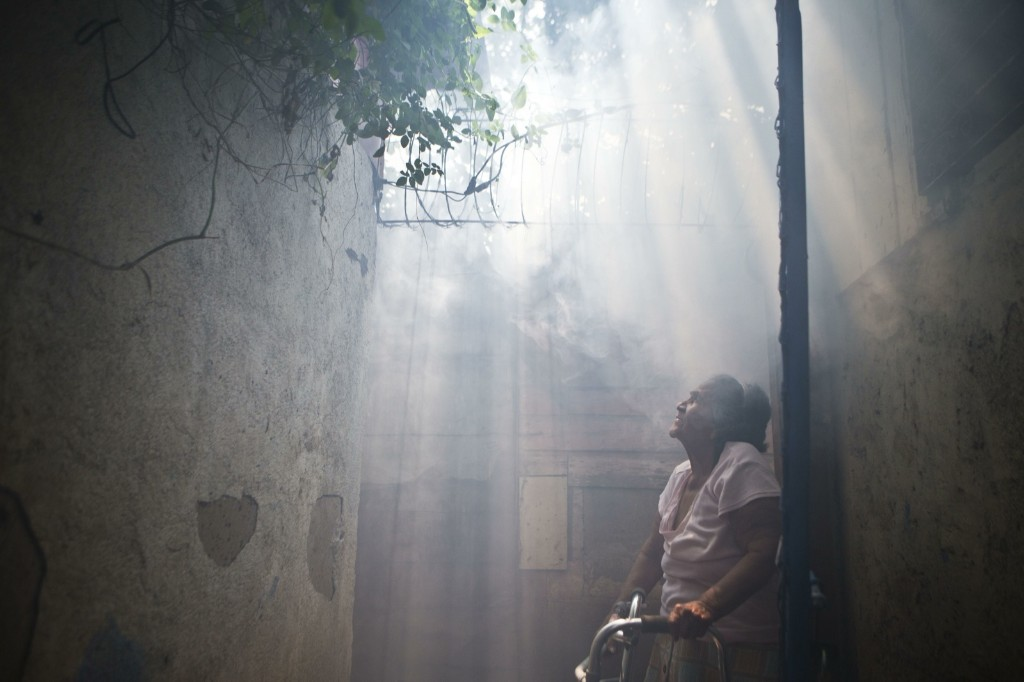 An elderly woman stands in a cloud of insecticide after a health ministry worker fumigated her house against mosquitoes in Managua, Nicaragua. AP Photo/Esteban Felix