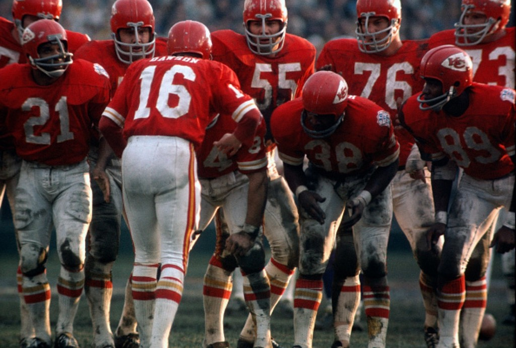 Len Dawson, the Chiefs quarterback, huddles up with his offense against the Vikings during Super Bowl IV, Jan. 1970 at Tulane Stadium in New Orleans. The Chiefs won, 23-7. Focus on Sport/Getty Images