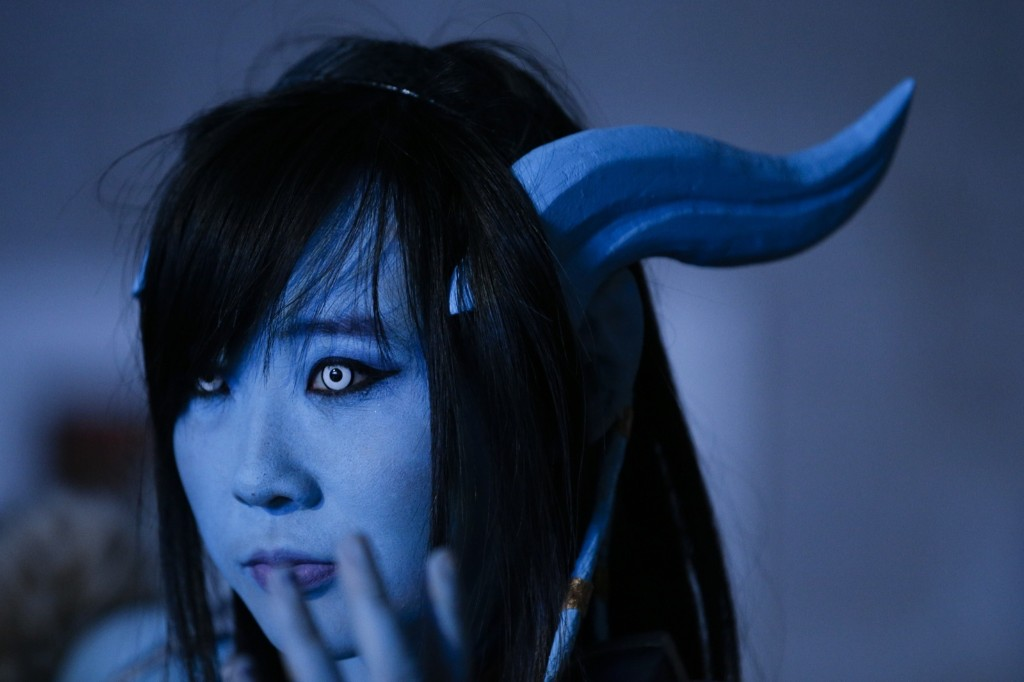 A woman dressed as the game character Draenei attends BlizzCon in Anaheim. AP Photo/Jae C. Hong