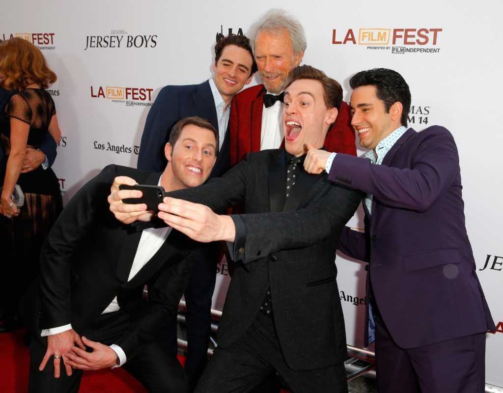 """Michael Lomenda, Vincent Piazza, Clint Eastwood, Erich Bergen and John Lloyd Young during film premiere of """"Jersey Boys"""" in LA. Joe Scarnici/WireImage"""