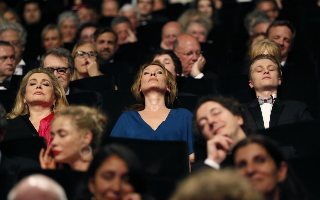 "Catherine Deneuve, director Emmanuelle Bercot, actor Rod Paradot and cast members of the film ""La tete haute"" attend the opening ceremony of the 68th Cannes Film Festival. REUTERS/Regis Duvignau"