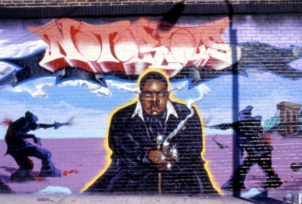 Notorious B.I.G. mural being painted the day after his death in 1997, on Ward Ave in the Bronx. David Corio/Redferns