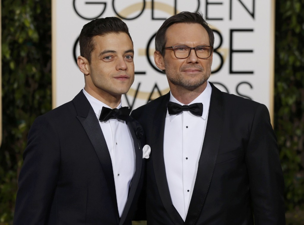 From 'Mr. Robot', Rami Malek and Christian Slater arrive at the 73rd Golden Globe Awards. REUTERS/Mario Anzuoni