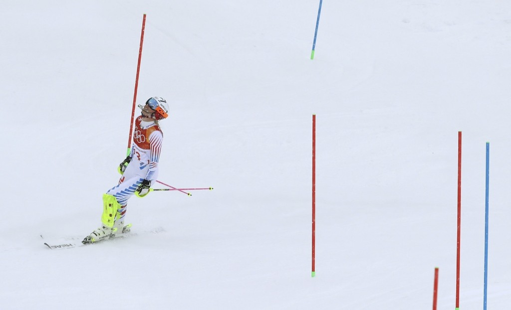Lindsey Vonn after skiing out in the women's combined slalom. She missed a gate and did not medal after leading in the downhill portion. AP Photo/Alessandro Trovati
