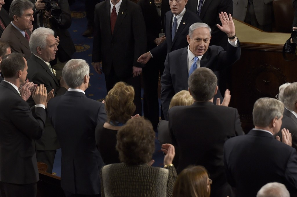 Israeli Prime Minister Benjamin Netanyahu enters the House chamber on Capitol Hill in Washington, Tuesday before an address to a joint meeting of Congress. AP Photo/Susan Walsh