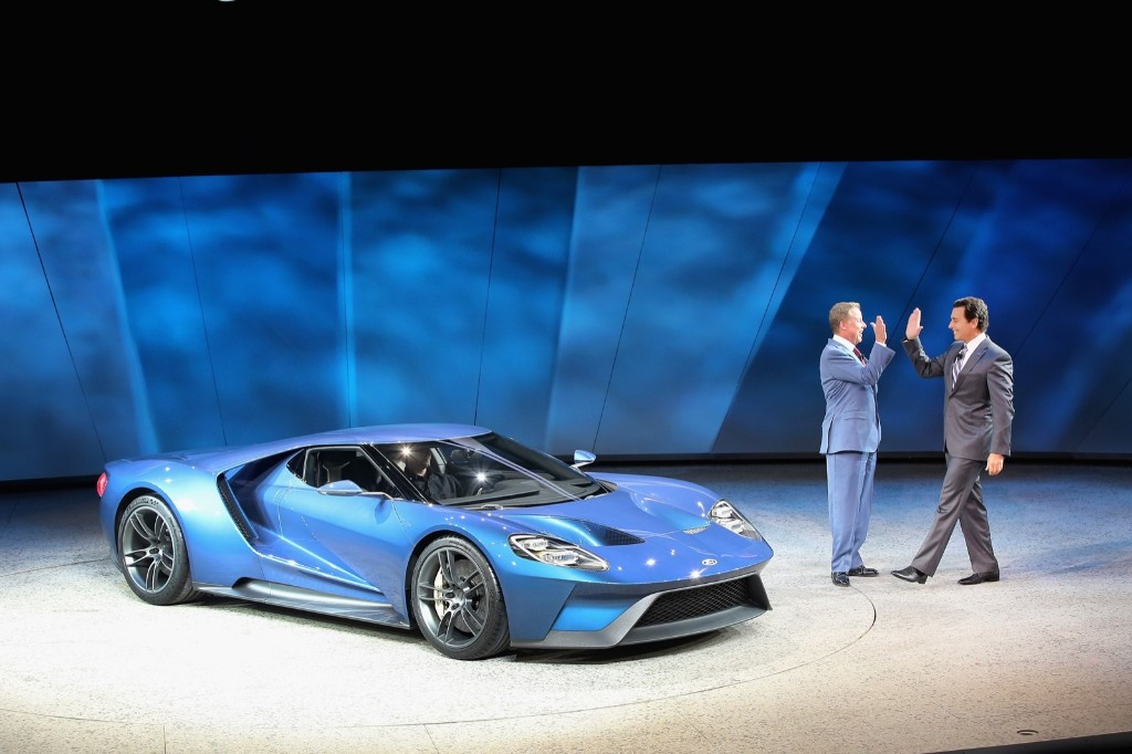 Bill Ford Executive Chairman of Ford Motor Company and Mark Fields, President and Chief Executive Officer of Ford Motor Company, at the launch of the Ford GT at the North American International Auto Show in Detroit, Monday. Scott Olson/Getty Images