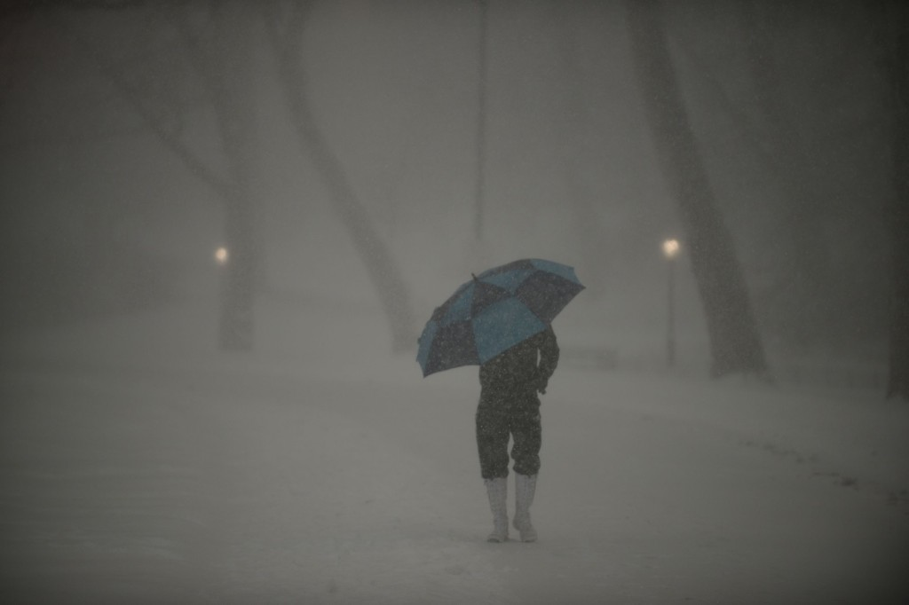 A man uses and umbrella to protect himself from heavy snow and strong wind gusts in Central Park. Astrid Riecken/Getty Images