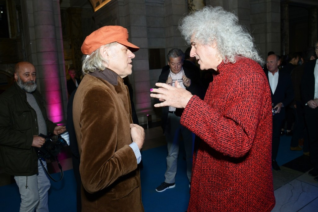 Bob Geldof and Brian May attend The Pink Floyd Exhibition: 'Their Mortal Remains' private view. Dave J Hogan/Getty Images