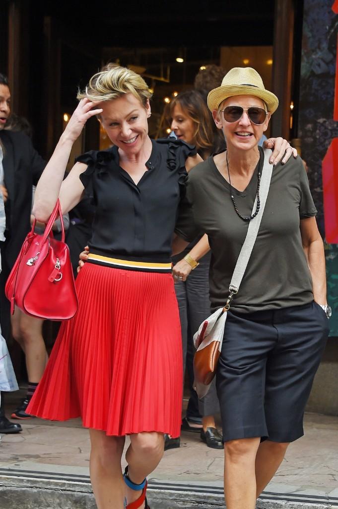 Ellen DeGeneres and Portia de Rossi shopping at ABC Carpet & Home in New York. Josiah Kamau/