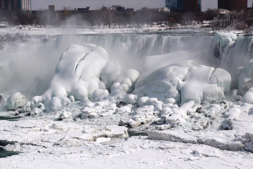 A view of the Niagara Falls on the Canadian side frozen over due to the extreme cold weather in March 2014. Seyit Aydogan/Anadolu Agency/Getty Images