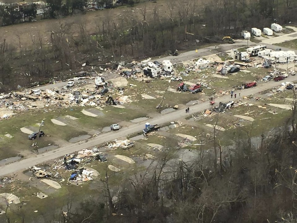 Wreckage of a mobile home park a day after it was hit by a tornado, in Convent, Louisiana. REUTERS/Louisiana Governor's Office of Homeland Security and Emergency Preparedness