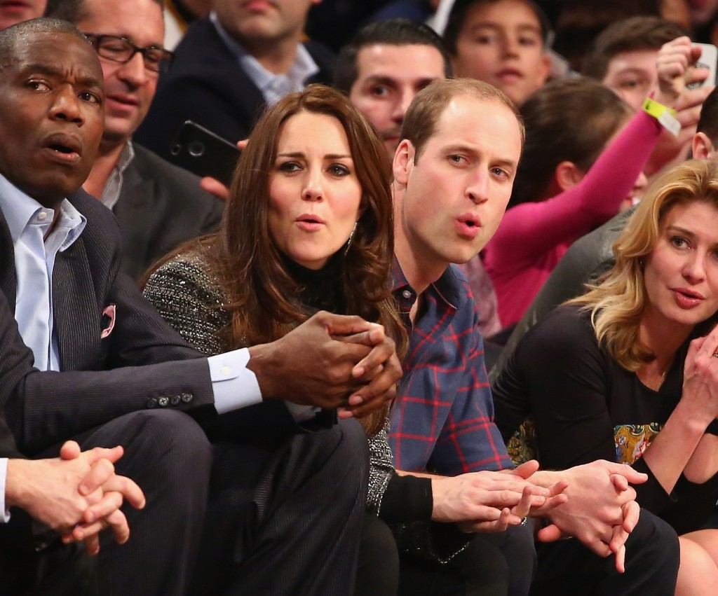 Prince William, Duke of Cambridge and Kate, Duchess of Cambridge watch the Cleveland Cavaliers play the Brooklyn Nets in an NBA game in New York, Monday. Al Bello/Getty Images