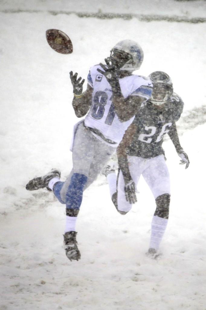 Lions' Calvin Johnson catching pass against the Eagles. AP Photo/Matt Rourke