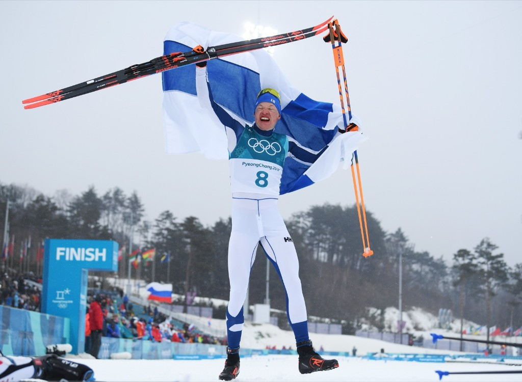 Iivo Niskanen of Finland celebrates after winning the gold medal in the 50km cross country race. Matthias Hangst/Getty Images