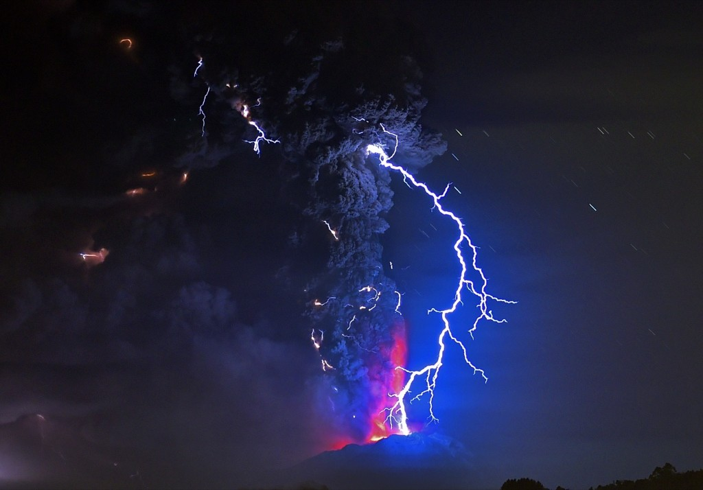 View from Frutillar, southern Chile, showing volcanic lightning and lava spewing from the Calbuco volcano. MARTIN BERNETTI/AFP/Getty Images
