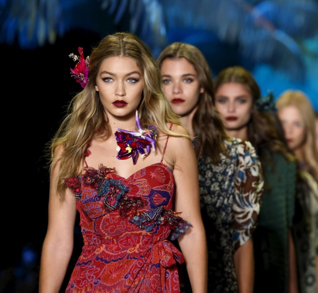 Gigi Hadid presents a creation from the Anna Sui Spring/Summer 2016 collection during New York Fashion Week. REUTERS/Eduardo Munoz