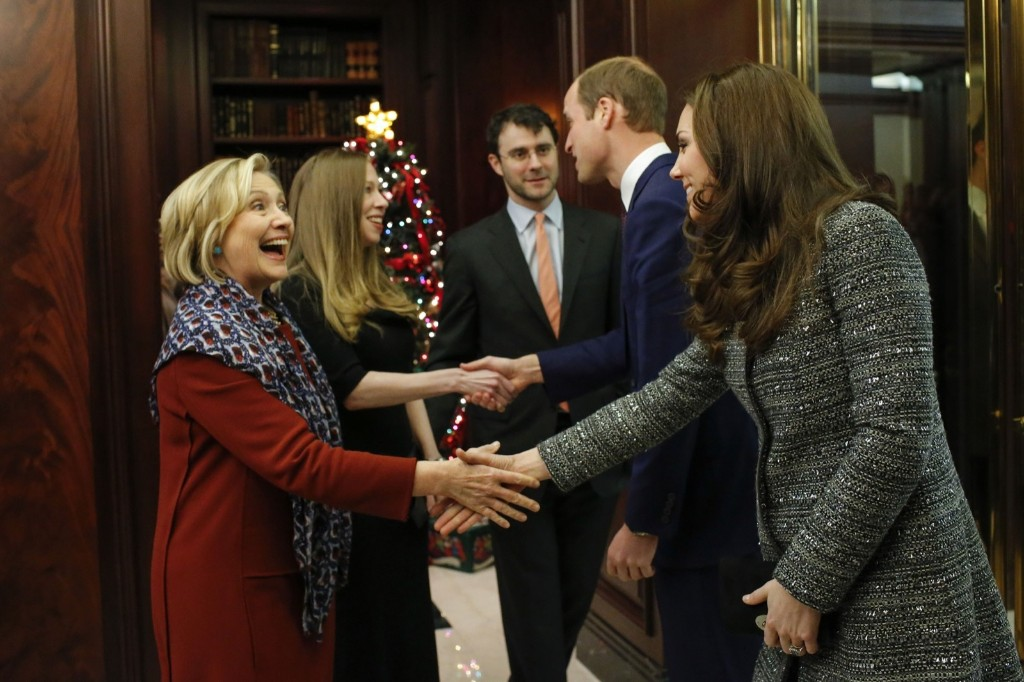 Kate, the Duchess Of Cambridge, greets Hillary Rodham Clinton at a reception with Prince William co-hosted by the Royal Foundation and the Clinton Foundation, Monday in New York. AP Photo/Eduardo Munoz Alvarez-Pool