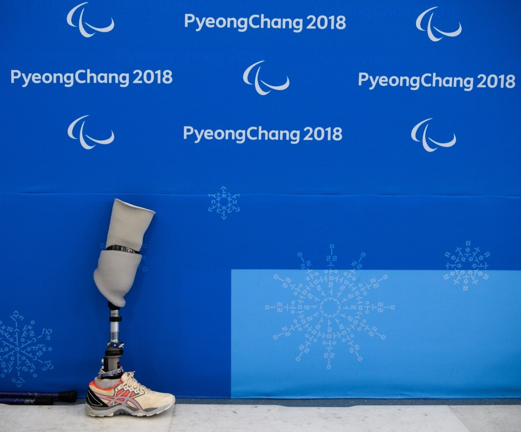 Prosthetic leg during the Ice Hockey Group B Preliminary Game between Korea and Japan at the Gangneung Hockey Centre. Joel Marklund for OIS/IOC