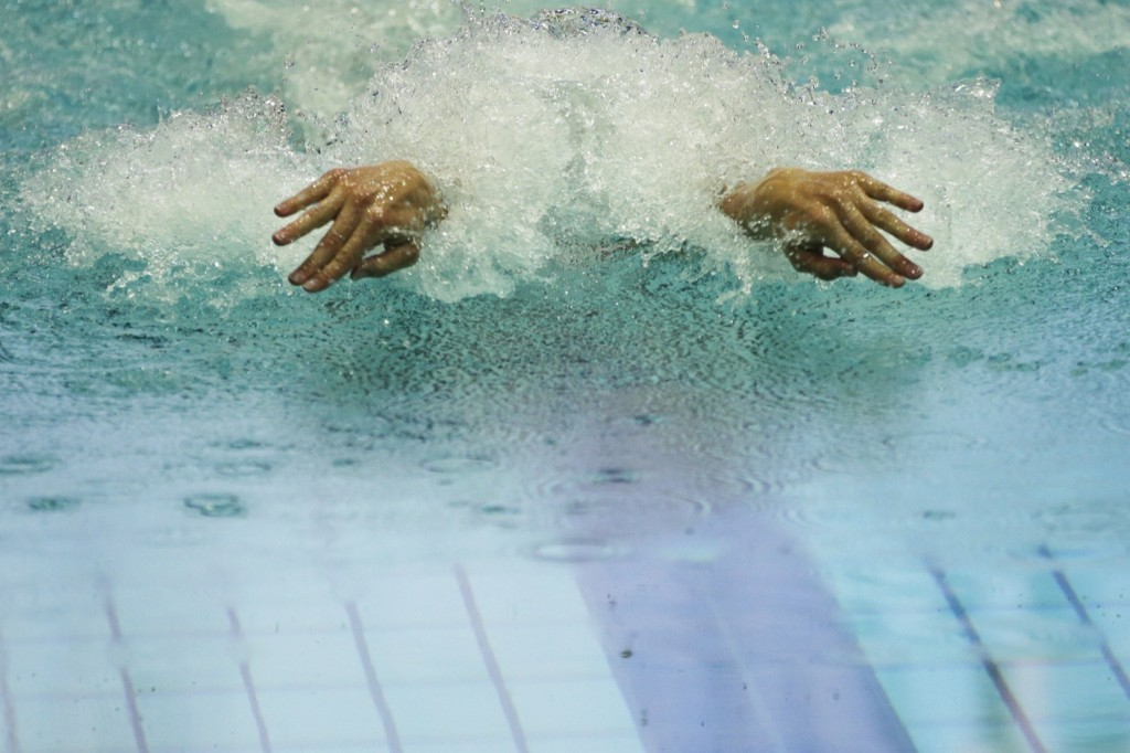 Tom Shields of the US winning silver medal in mens 200-meter butterfly final at Fina Swimming World Cup in Moscow. AP Photo/Pavel Golovkin