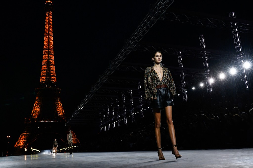 Kaia Gerber walks the runway during the Saint Laurent show as part of Paris Fashion Week Womenswear Spring/Summer 2018. Peter White/Getty Images
