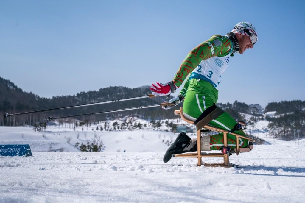 Yauheni Lukyanenka of Belarus competes during the Cross-Country Skiing Sitting Men's 15km. Bob Martin for OIS/IOC