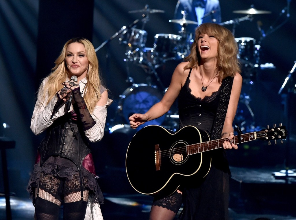 Madonna and Taylor Swift perform during the 2015 iHeartRadio Music Awards, Sunday, in Los Angeles. Kevin Winter/Getty Images for iHeartMedia