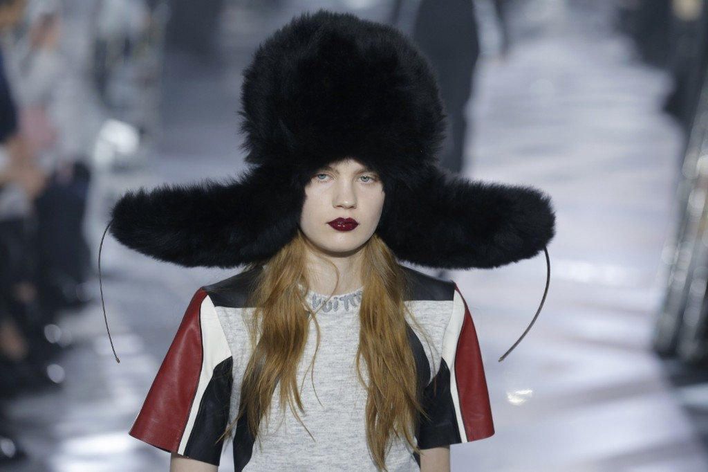 A model wears a creation as part of Louis Vuitton's Fall-winter 2016-2017 ready to wear collection presented in Paris. AP Photo/Francois Mori