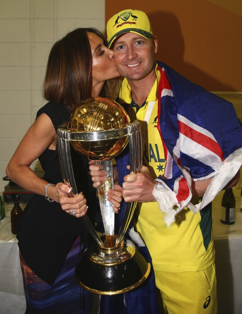 Michael Clarke of Australia and his wife Kyly Clarke with the trophy after winning the 2015 ICC Cricket World Cup final match against New Zealand, Sunday, in Melbourne. Ryan Pierse/Getty Images