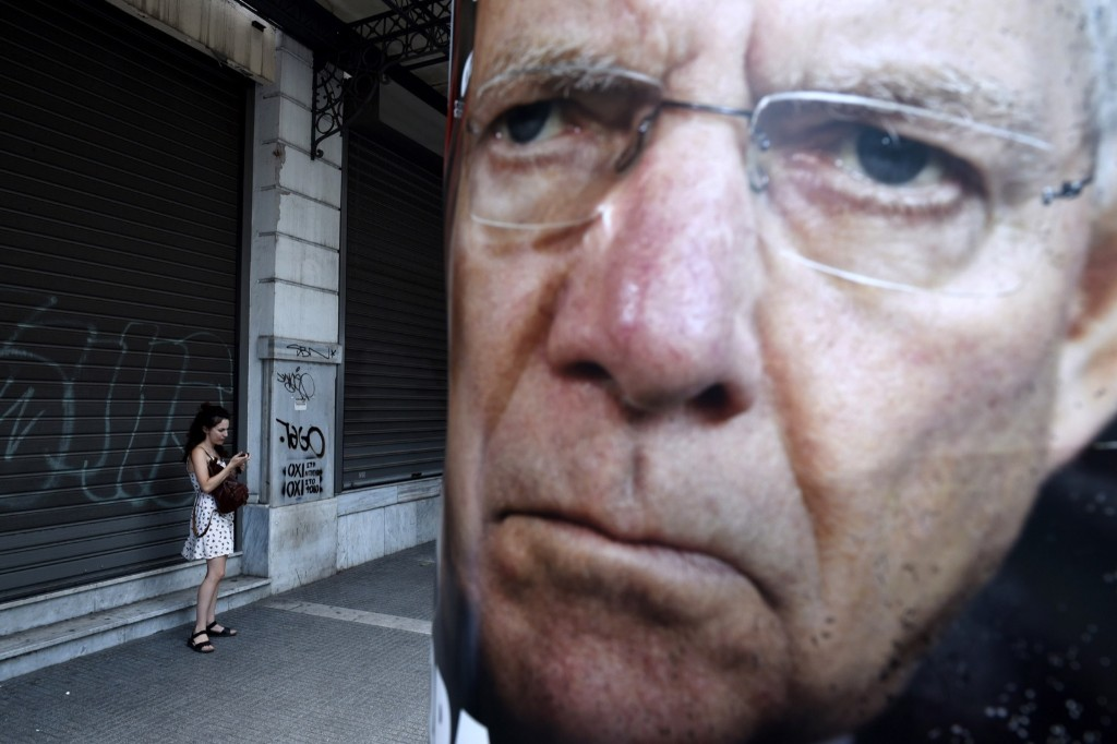 A poster depicting German Finance Minister Wolfgang Schaeuble placed by supporters of the No vote to the upcoming referendum in the northern Greek port city of Thessaloniki. AP Photo/Giannis Papanikos