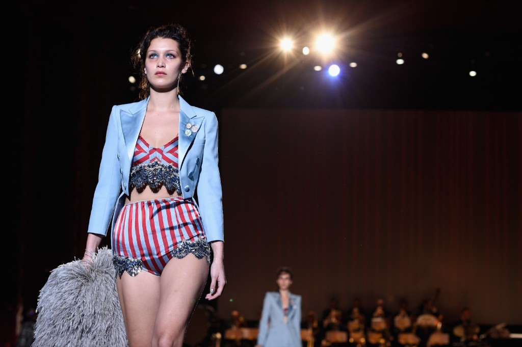 Bella Hadid walks the runway at the Marc Jacobs show. Slaven Vlasic/Getty Images for Marc Jacobs