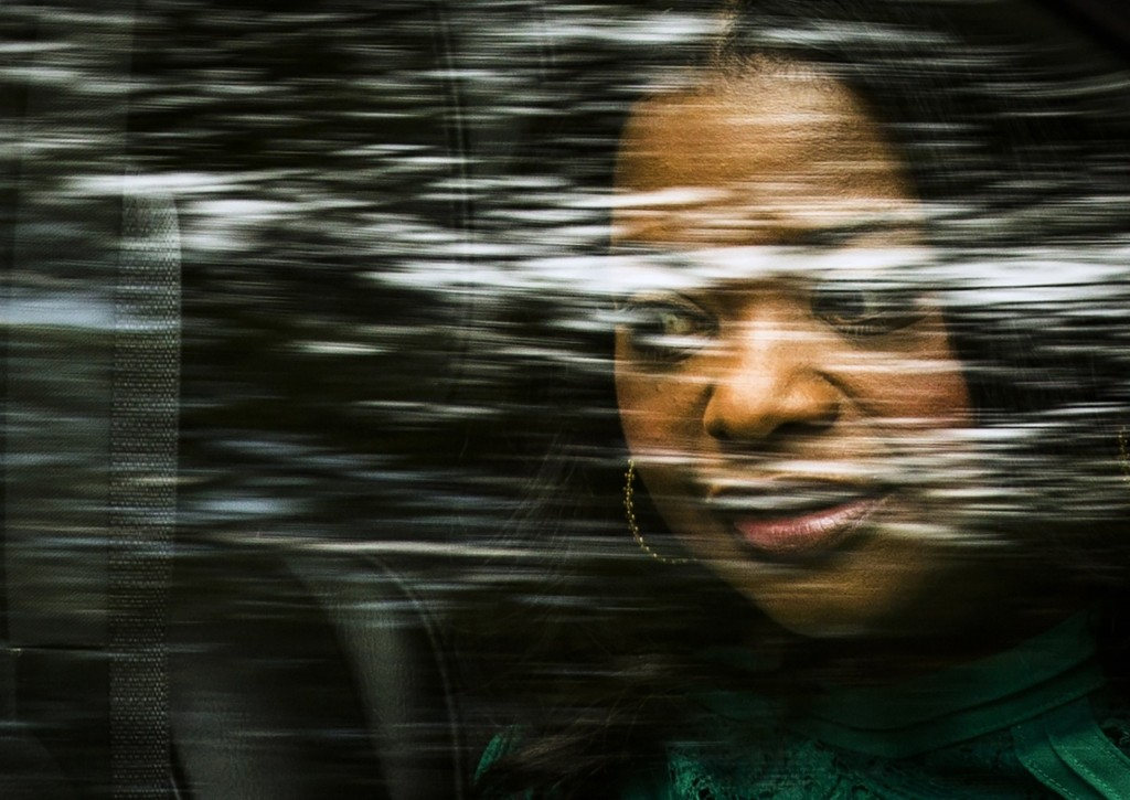 """Octavia Spencer looks out of a car window as she arrives for the """"Black and White"""" gala at the Toronto International Film Festival. REUTERS/Mark Blinch"""