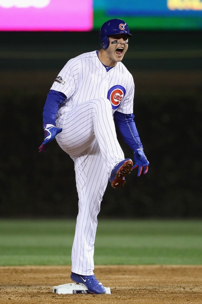 Anthony Rizzo of the Cubs celebrates after hitting a double in the first inning. Jonathan Daniel/Getty Images