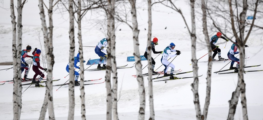 The men's 15km + 15km cross country skiathlon at the Alpensia cross country ski centre. FRANCK FIFE/AFP/Getty Images