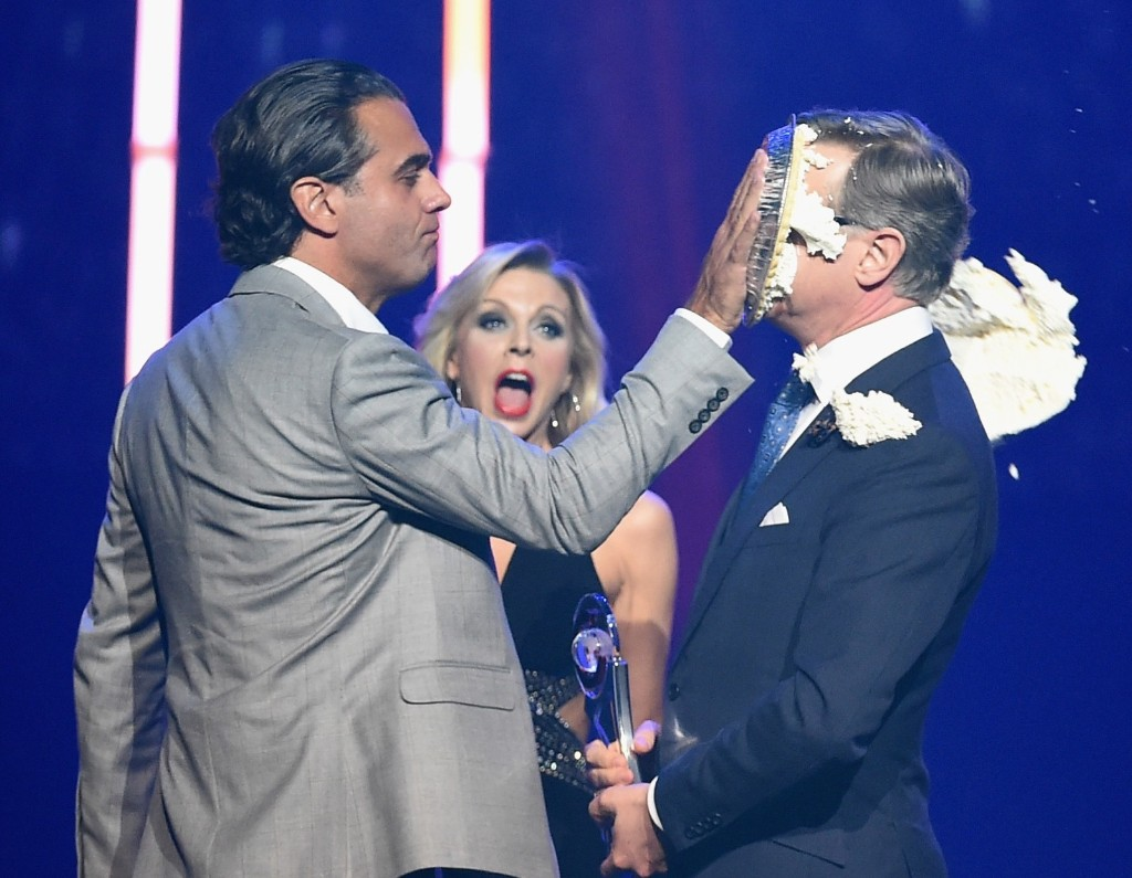 Actor Bobby Cannavale hits director Paul Feig in the face with a pie during The CinemaCon Big Screen Achievement Awards, April 23, in Las Vegas. Ethan Miller/Getty Images