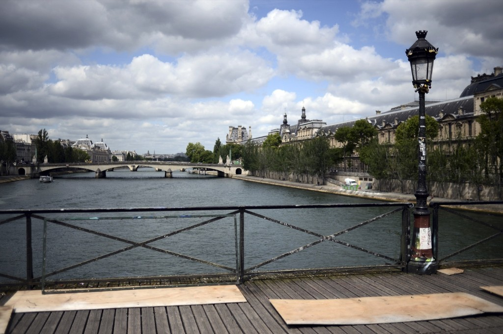 The railings of the Pont des Arts bridge after the 'love padlocks' were removed in Paris, Monday. Stephane de Sakutin/AFP/Getty Images