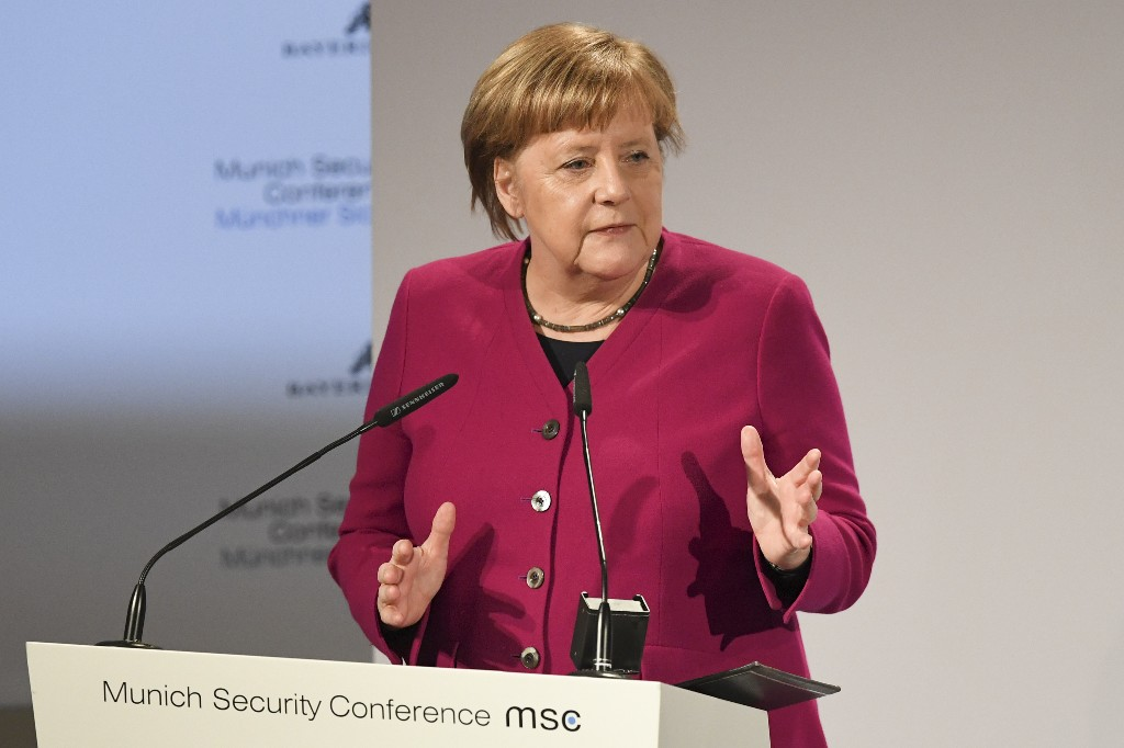 German Chancellor Angela Merkel delivers her speech during the Munich Security Conference in Munich, Germany, Saturday, Feb. 16, 2019. (AP Photo/Kerstin Joensson)
