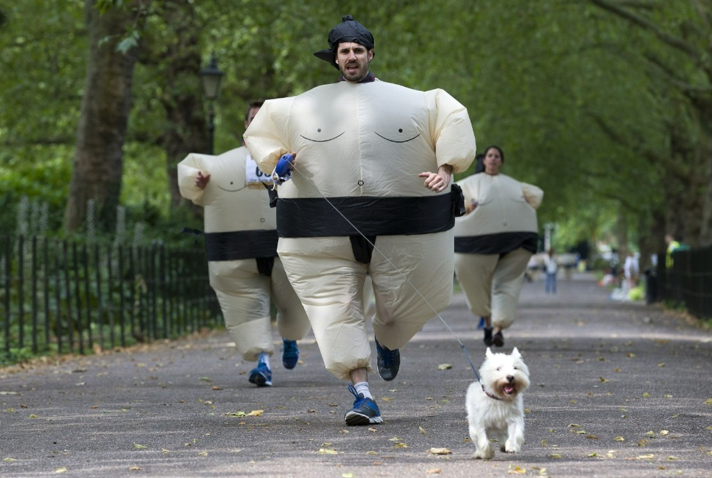 The Sumo 5k Run in Battersea Park, London. JUSTIN TALLIS/AFP/Getty Images
