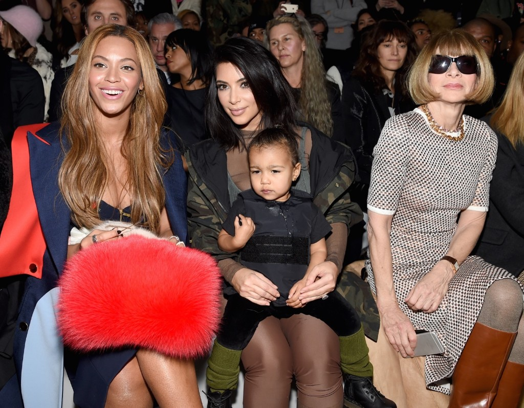 Beyonce, Kim Kardashian with daughter North and Anna Wintour attend the adidas Originals Kanye West Yeezy Season 1 fashion show during New York Fall Fashion Week 2015, Thursday. Dimitrios Kambouris/Getty Images